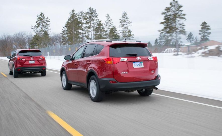 2013 Toyota RAV4 XLE AWD, 2014 Subaru Forester 2.5i Touring, and 2014 Mazda CX-5 Grand Touring AWD - Slide 12