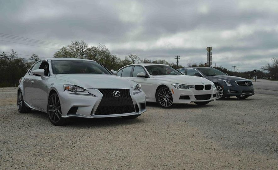 2014 Lexus IS350 F Sport, 2013 BMW 335i M Sport, and 2013 Cadillac ATS 3.6 - Slide 1