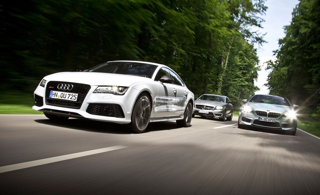 2014 Audi RS7 vs. 2014 BMW M6 Gran Coupe, 2014 Mercedes-Benz CLS63 AMG S-model | Comparison Test
