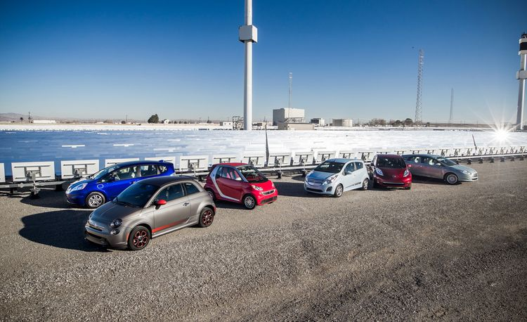 2014 Chevrolet Spark EV vs. 2013 Fiat 500E, 2014 Ford Focus Electric, 2013 Honda Fit EV, 2013 Nissan Leaf SL, 2013 Smart Fortwo ED Cabriolet