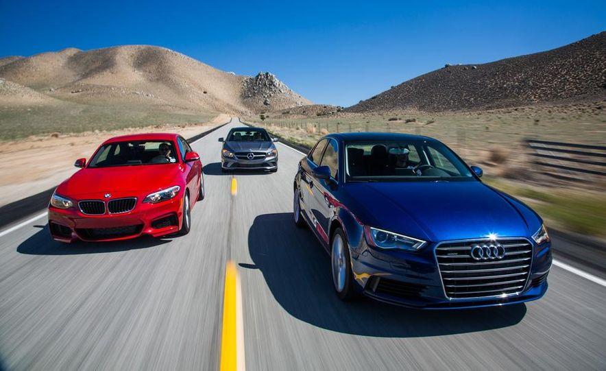 2014 BMW 228i M Sport, 2014 Mercedes-Benz CLA250 4MATIC, and 2015 Audi A3 2.0T Quattro - Slide 1