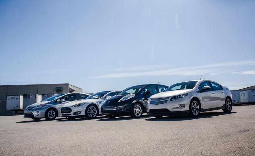 2014 Toyota Prius, 2014 Mercedes-Benz CLA250, 2012 Tesla Model S P85, 2012 Nissan Leaf SL, and 2014 Chevrolet Volt - Slide 2