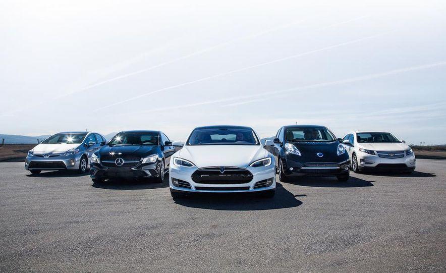 2014 Toyota Prius, 2014 Mercedes-Benz CLA250, 2012 Tesla Model S P85, 2012 Nissan Leaf SL, and 2014 Chevrolet Volt - Slide 1
