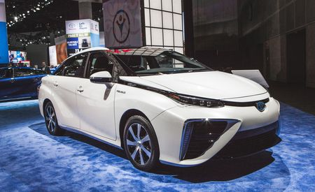 2016 Toyota Mirai Fuel-Cell Sedan Debuts with Fancy Tech, Tire-Fire Styling