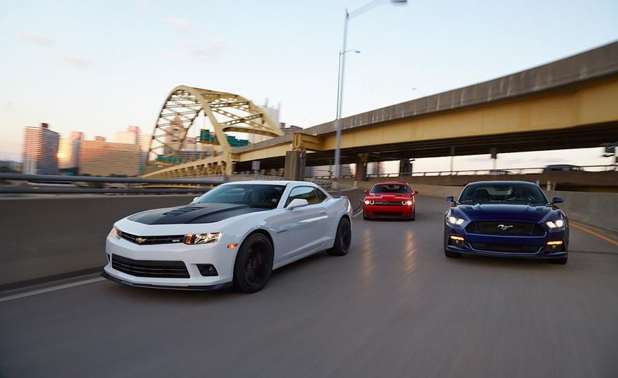 2015 Dodge Challenger R/T Scat Pack, 2015 Chevrolet Camaro SS 1LE, and 2015 Ford Mustang GT - Slide 4