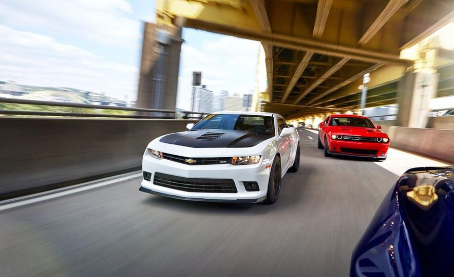 2015 Dodge Challenger R/T Scat Pack, 2015 Chevrolet Camaro SS 1LE, and 2015 Ford Mustang GT - Slide 13