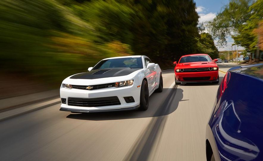 2015 Dodge Challenger R/T Scat Pack, 2015 Chevrolet Camaro SS 1LE, and 2015 Ford Mustang GT - Slide 14