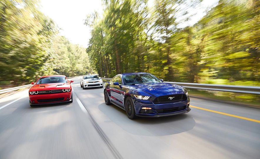 2015 Dodge Challenger R/T Scat Pack, 2015 Chevrolet Camaro SS 1LE, and 2015 Ford Mustang GT - Slide 9