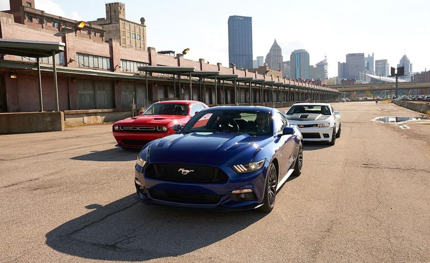 2015 Dodge Challenger R/T Scat Pack, 2015 Chevrolet Camaro SS 1LE, and 2015 Ford Mustang GT - Slide 17
