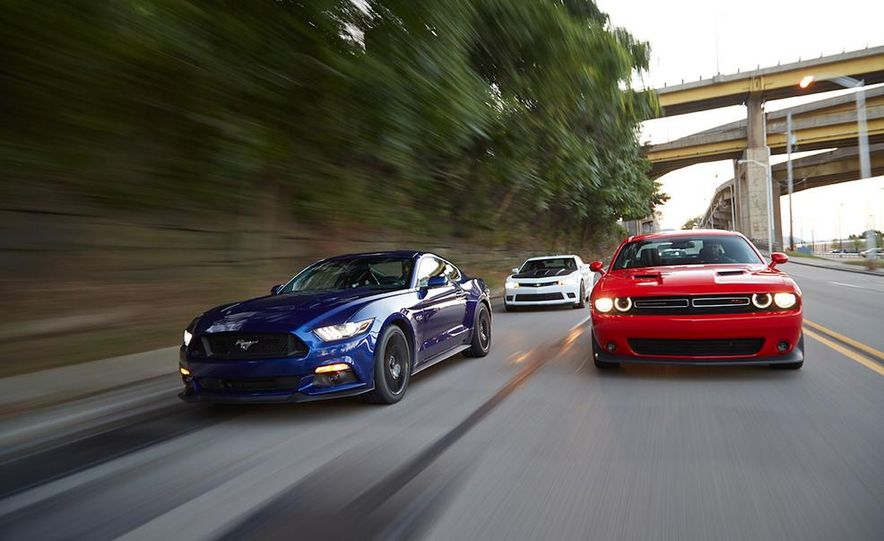 2015 Dodge Challenger R/T Scat Pack, 2015 Chevrolet Camaro SS 1LE, and 2015 Ford Mustang GT - Slide 5