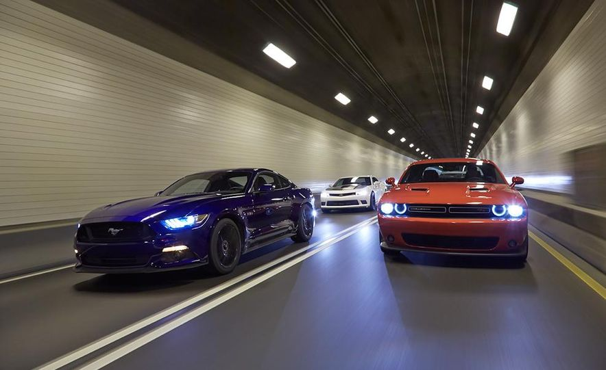 2015 Dodge Challenger R/T Scat Pack, 2015 Chevrolet Camaro SS 1LE, and 2015 Ford Mustang GT - Slide 6