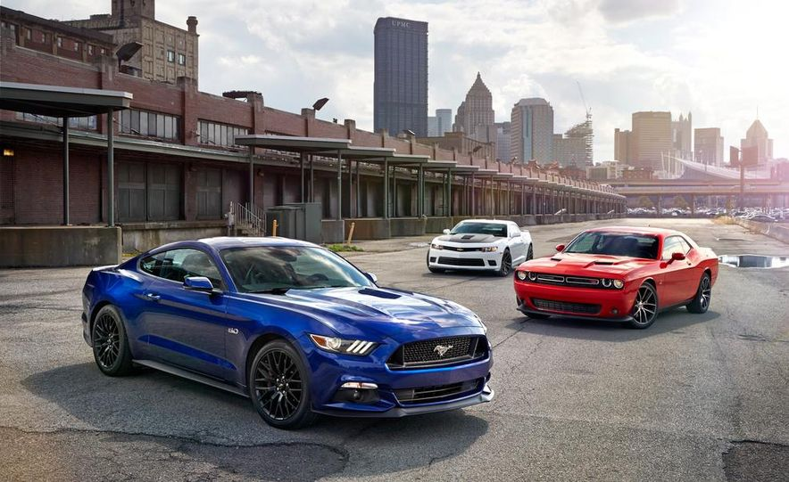 2015 Dodge Challenger R/T Scat Pack, 2015 Chevrolet Camaro SS 1LE, and 2015 Ford Mustang GT - Slide 18