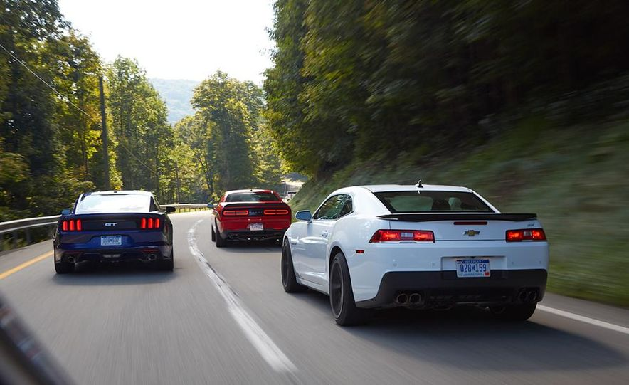 2015 Dodge Challenger R/T Scat Pack, 2015 Chevrolet Camaro SS 1LE, and 2015 Ford Mustang GT - Slide 11