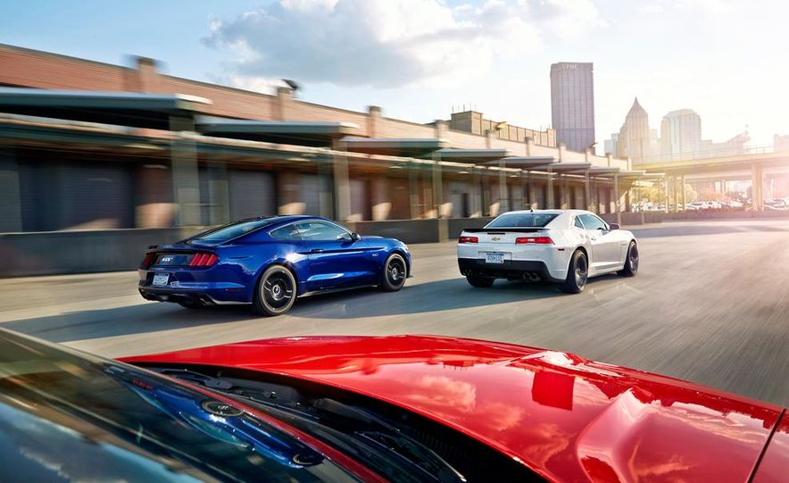 2015 Dodge Challenger R/T Scat Pack, 2015 Chevrolet Camaro SS 1LE, and 2015 Ford Mustang GT - Slide 16