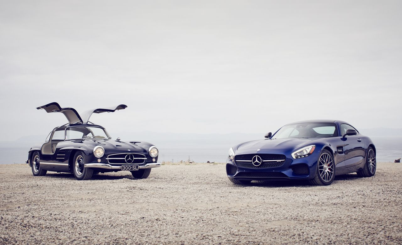 Taking Wing: 1955 Mercedes Benz 300SL Gullwing Vs. 2016 Mercedes AMG GT