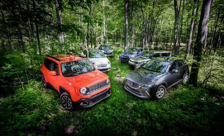 Mazda CX-3 AWD vs. Fiat 500X AWD, Honda HR-V AWD, Jeep Renegade 4x4, Chevrolet Trax AWD, Kia Soul