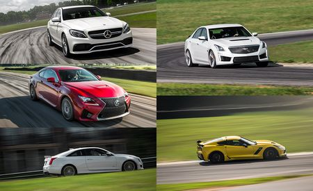 Lightning Lap 2015 LL3 Class: Lexus RC F, Mercedes-AMG C63 S, Cadillac ATS-V Coupe, Cadillac CTS-V, and Chevrolet Corvette Z06