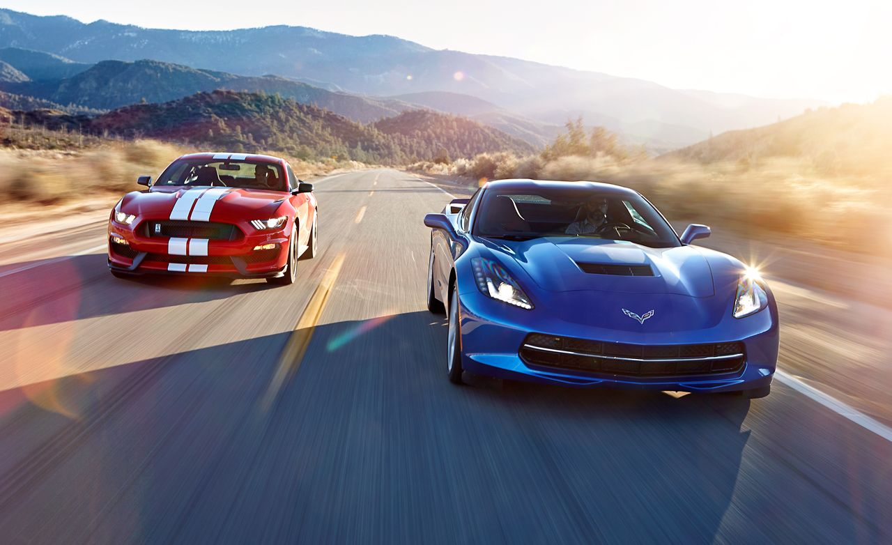 2016 chevrolet corvette stingray z51 vs 2016 ford mustang shelby gt350 comparison test car and driver
