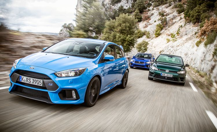 2016 Ford Focus RS vs. 2015 Subaru WRX STI, 2016 Volkswagen Golf R