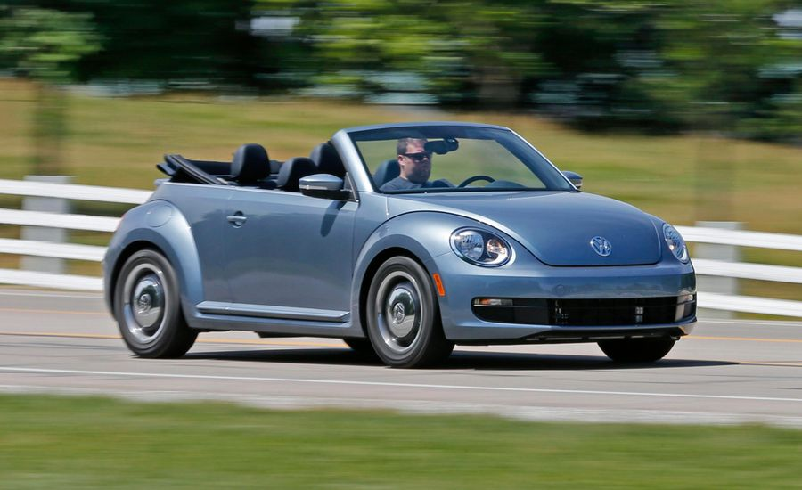 volkswagen beetle convertible  denim edition test review car  driver
