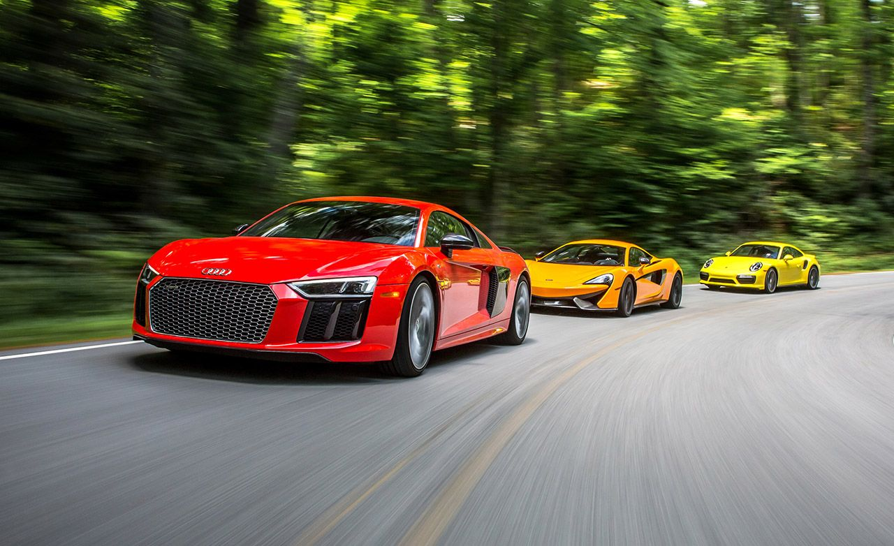 2017 Audi R8 V 10 Plus Vs 2016 Mclaren 570s Porsche 911 Turbo S 8211 Comparison Test Car And Driver