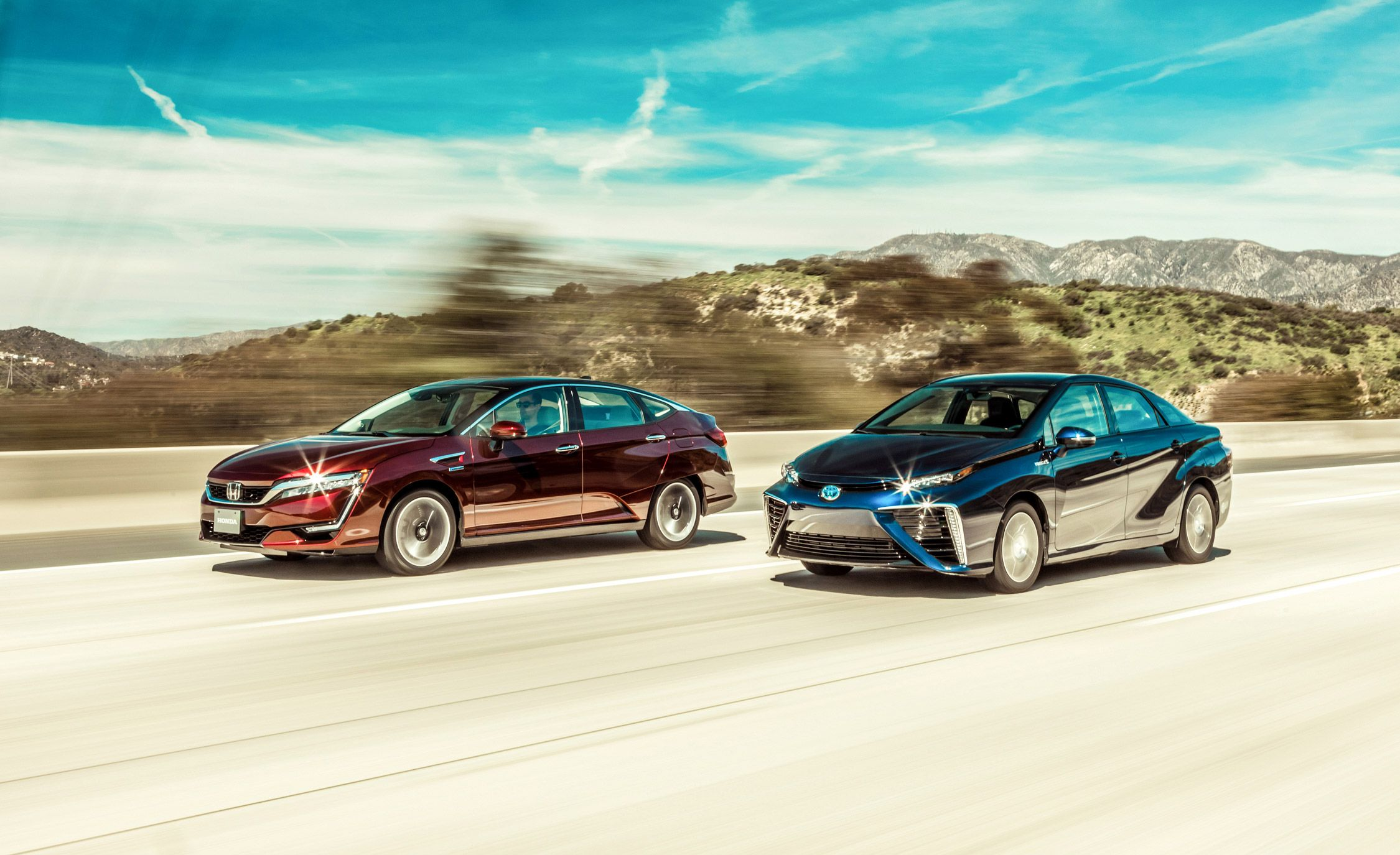 Honda Clarity And Toyota Mirai Hydrogen Fuel Cell Cars Compared Comparison Test Car Driver