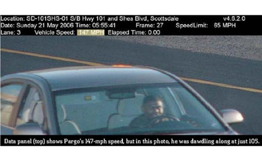 The surveillance data panel showing the Sonata traveling at 147 miles per hour - Slide 1