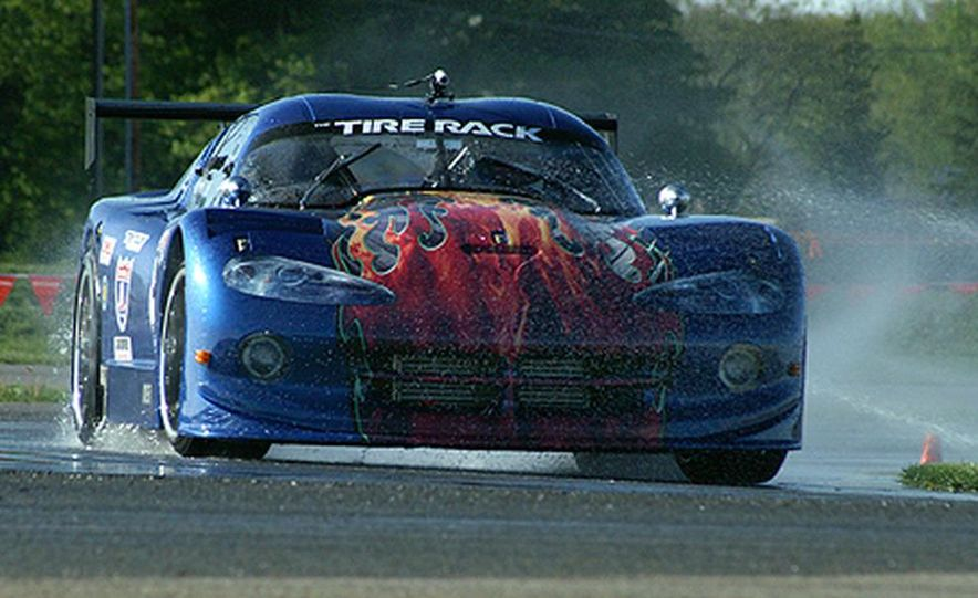 Ron Adee's Viper was first out on the wet skid pad at Tire Rack headquarters in South Bend. - Slide 1