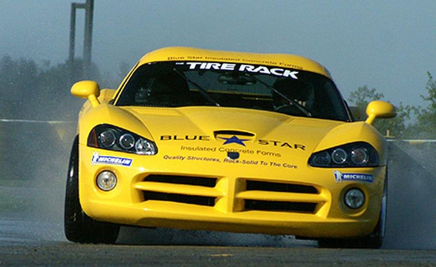 Ron Adee's Viper was first out on the wet skid pad at Tire Rack headquarters in South Bend. - Slide 3