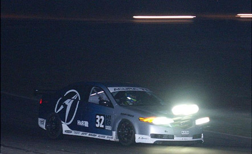 Running smoothly through the wee hours, the 2004 Acura TL fielded by Honda Research (not to be confused, at their request, with Honda Research West) finished the day tops in Sedan class, and third overall. - Slide 1