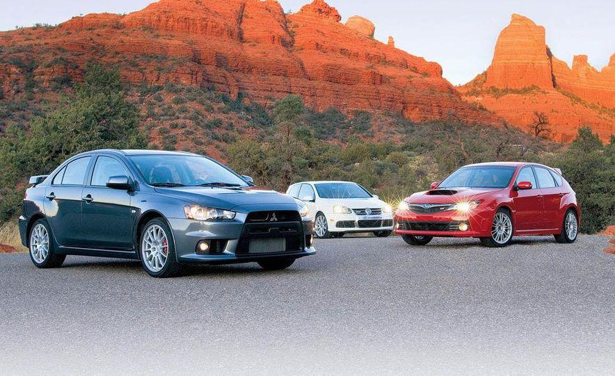 2008 Mitsubishi Lancer Evolution GSR,  2008 Subaru Impreza WRX STI, and 2008 Volkswagen R32 - Slide 1