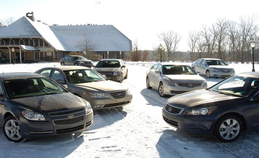 2009 Hyundai Sonata, 2008 Ford Fusion, 2008 Toyota Camry, 2008 Honda Accord, 2008 Dodge Avenger, 2008 Nissan Altima, 2008 Chevy Malibu - Slide 2