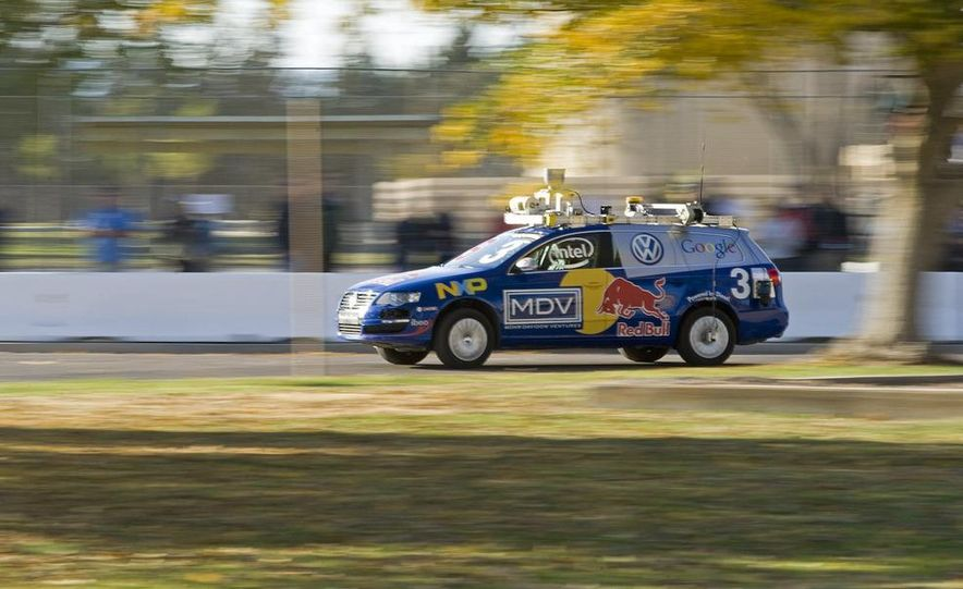 "Carnegie Mellon's Tartan Racing fielded this GM-sponsored Chevrolet Tahoe, nicknamed ""Boss,"" which crossed the finish line second but actually scored the win in the race against the clock. - Slide 6"
