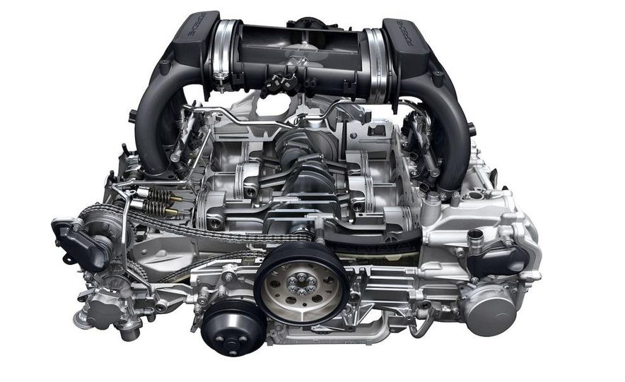 2009 Porsche Boxster S 3.4-liter flat-6 engine illustration - Slide 1