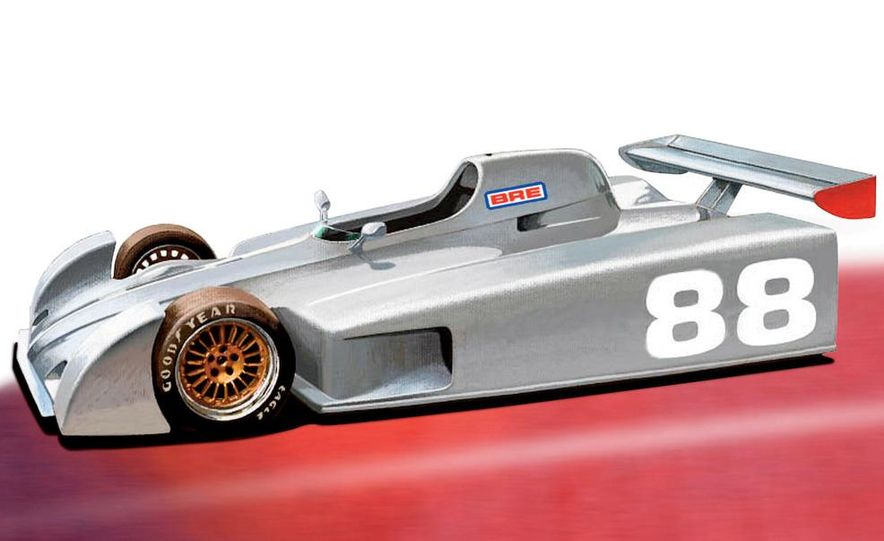 Peter Brock's Can-Am racer: The open front wheels would add downforce and allow the driver to note understeer. A small rear wing is mostly for chassis tuning. - Slide 1