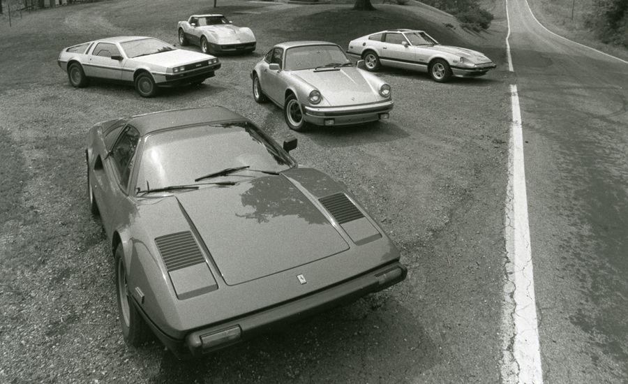 De Lorean vs. Chevy Corvette, Datsun 280-ZX, Ferrari 308GTS, Porsche 911