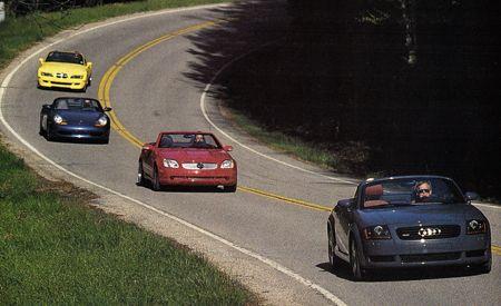 Audi TT Quattro Roadster vs. BMW M Roadster, Mercedes-Benz SLK320, Porsche Boxster