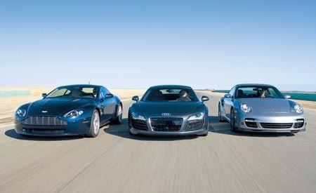 2007 Aston Martin V-8 Vantage vs. 2008 Audi R8, 2007 Porsche 911 Turbo