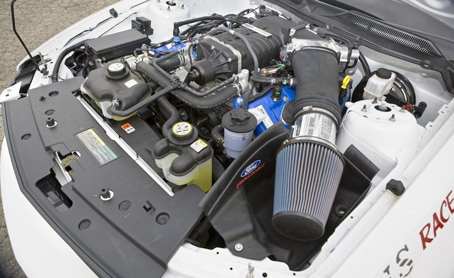 The 5.4-liter supercharged V-8 is rated at 425 horsepower. Your actual power output may vary, depending on how clever a mechanic you are. - Slide 9