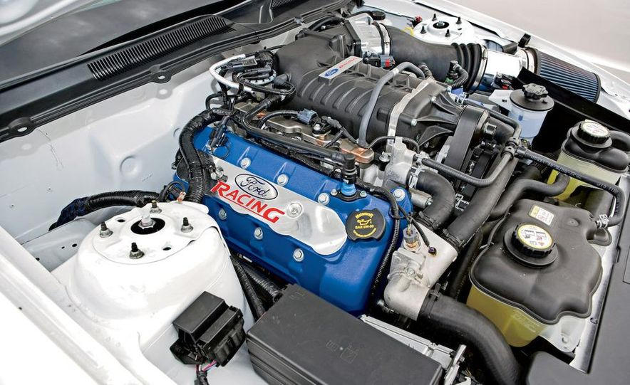 The 5.4-liter supercharged V-8 is rated at 425 horsepower. Your actual power output may vary, depending on how clever a mechanic you are. - Slide 1