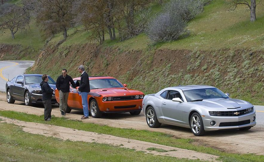 2010 Ford Mustang GT coupe, 2009 Dodge Challenger R/T, and 2010 Chevrolet Camaro SS - Slide 6