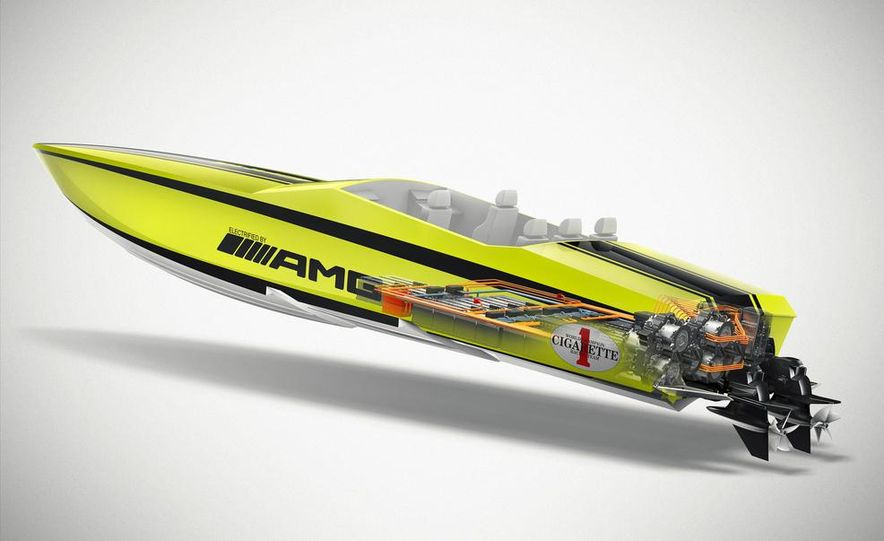 Cigarette AMG Electric Drive powerboat concept and 2014 Mercedes-Benz SLS AMG Electric Drive - Slide 9