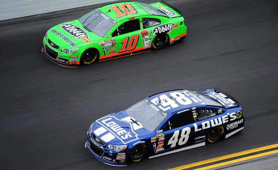 Jimmie Johnson, driver of the #48 Lowe's Chevrolet on the podium at the 2013 Daytona 500. - Slide 5