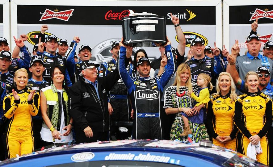 Jimmie Johnson, driver of the #48 Lowe's Chevrolet on the podium at the 2013 Daytona 500. - Slide 2