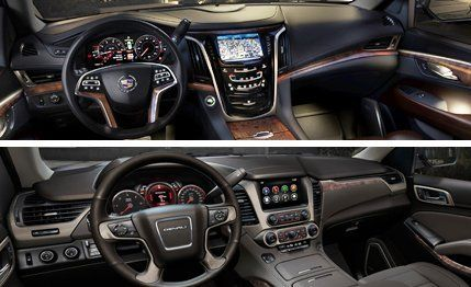 Good View 13 Photos Top: 2015 Cadillac Escalade Interior. Bottom: 2015 GMC Yukon  Denali Interior. Gallery