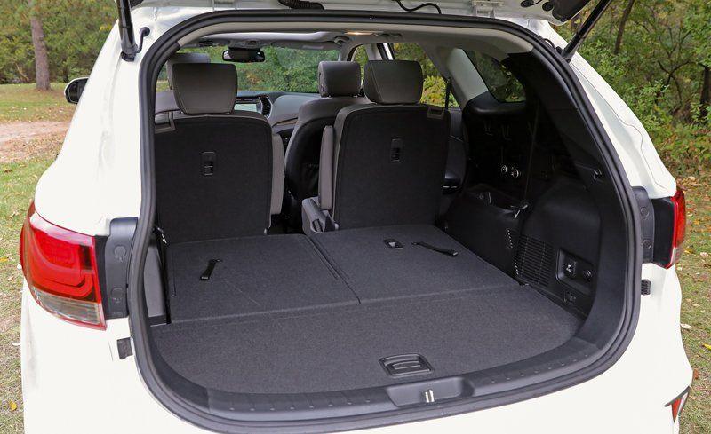 Hyundai Santa Fe Trunk Space >> 2018 Hyundai Santa Fe Cargo Space And Storage Review Car And Driver