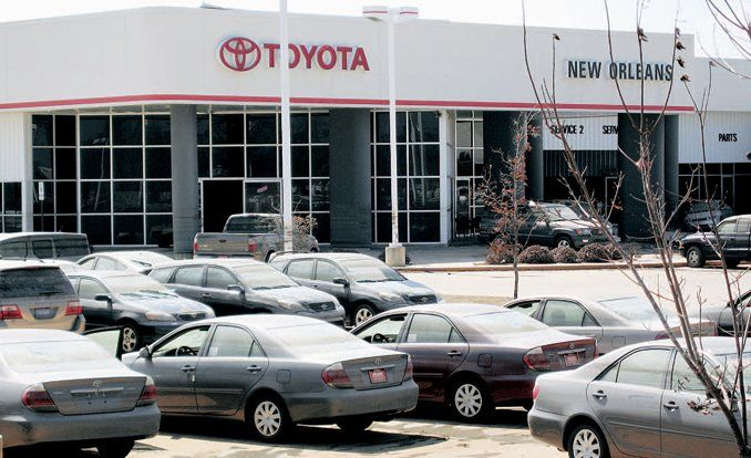 Wonderful Like The Rings Of A Neglected Bathtub, The Floodwaters Left Visible Lines  On New Vehicles As The Waters Receded At Toyota Of New Orleans.