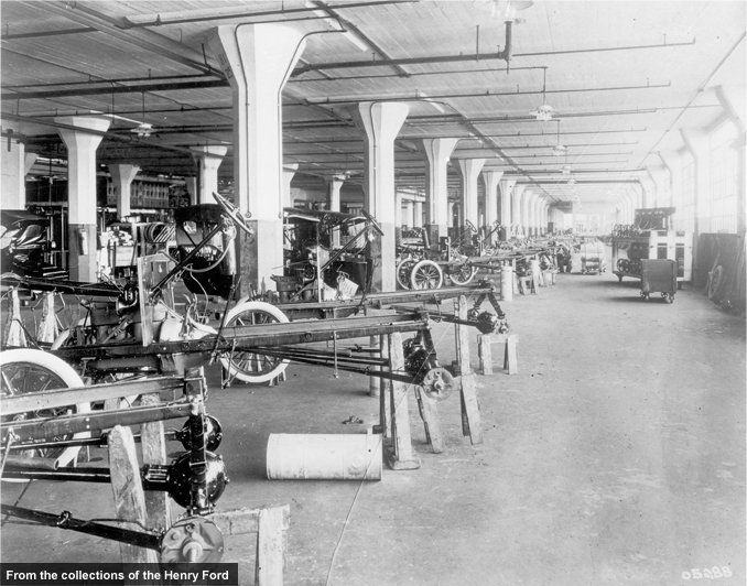 Before the advent of the moving assembly line, Ford and other automakers used variations of the station-build approach. Rather than the car coming to individual workers, a team of workers came to the car. Ford produced Model Ts in this manner for three years at its new Highland Park plant before adopting the assembly line.