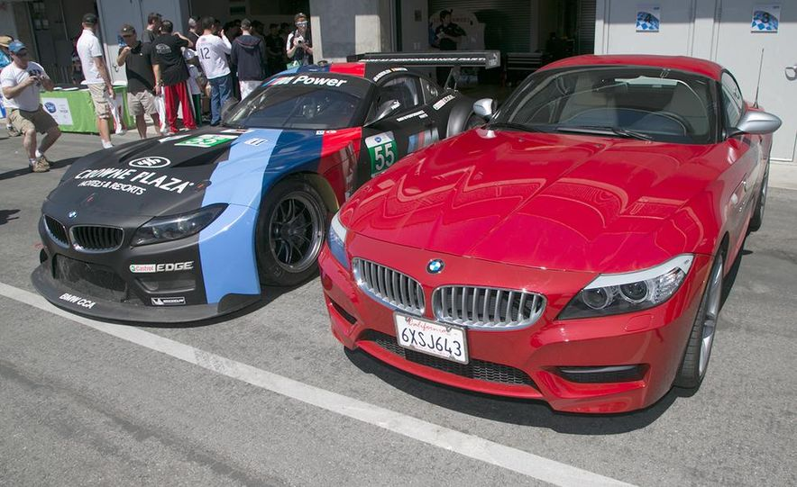BMW Z4 GTE race car and 2014 Z4 sDrive35is at Mazda Raceway Laguna Seca - Slide 1