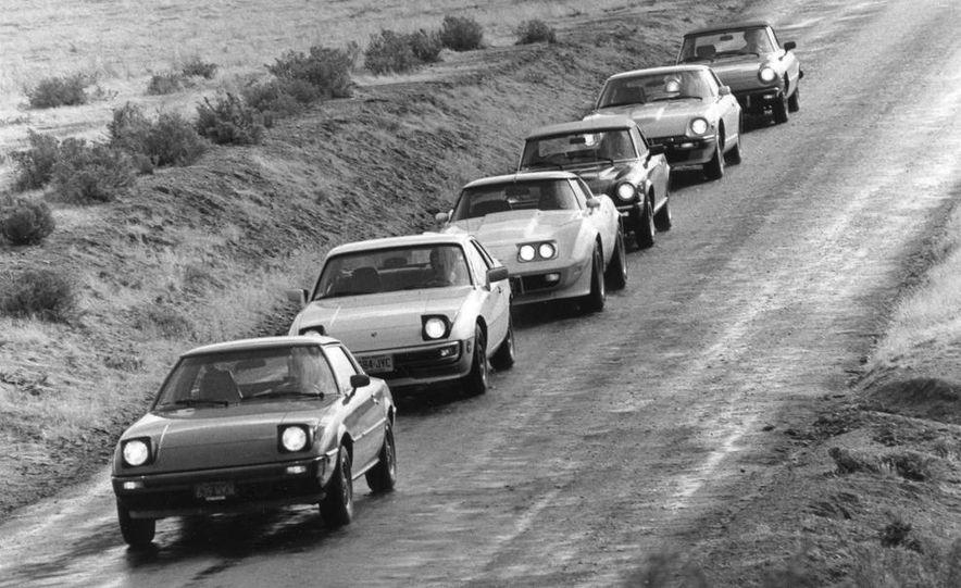 Mazda RX-7, Porsche 924, Chevy Corvette, Fiat Spider 2000, Datsun 280-ZX,  and Alfa Romeo Spider - Slide 1